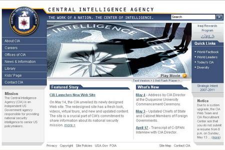 美国中情局网站截图。
