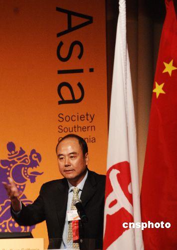 图文:洛杉矶举办北京奥运主题餐会 王伟发言