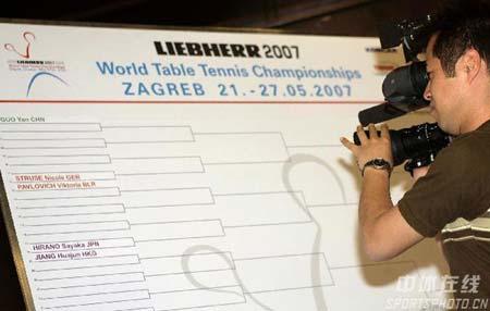 图文:世乒赛抽签仪式开始 记者关注抽签结果