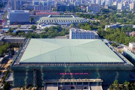图文:探访北京首都体育馆 新建的顶棚