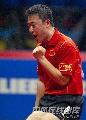 图文:[乒乓球]47届世乒赛回顾 马琳握拳庆祝