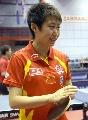图文:中国乒乓队赛前训练 郭跃心情放松