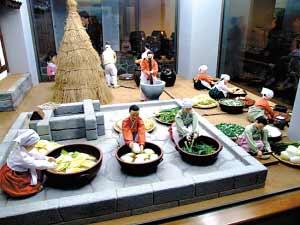俗博物馆里做泡菜的蜡像