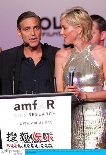 图:慈善抗艾滋派对 莎朗·斯通和克鲁尼同台
