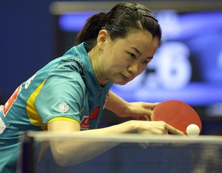 25日下午,第49届萨格勒布世乒赛正赛第四天.在女单第4轮比赛中(