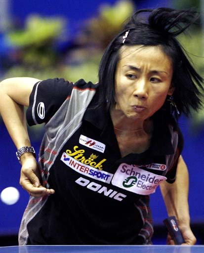 25日晚间,第49届萨格勒布世乒赛正赛第四天.在女单第4轮比赛中(