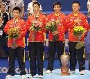 图文:男双赛后颁奖仪式 国乒四英杰共享殊荣