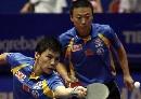 图文:世乒赛男双决赛 马琳是陈�^的坚强后盾