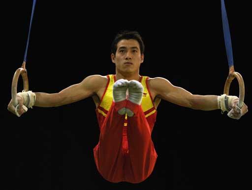 图文:体操对抗赛中国胜澳洲 吕博吊环欠火候