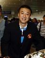 图文:国乒载誉抵北京 马琳抵达首都机场