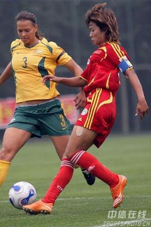 图文:女足VS澳大利亚 韩端防不胜防