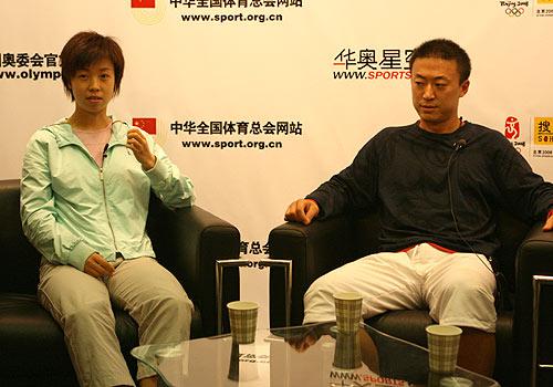 图文:马琳张怡宁做客畅谈世乒赛 两人思考问题