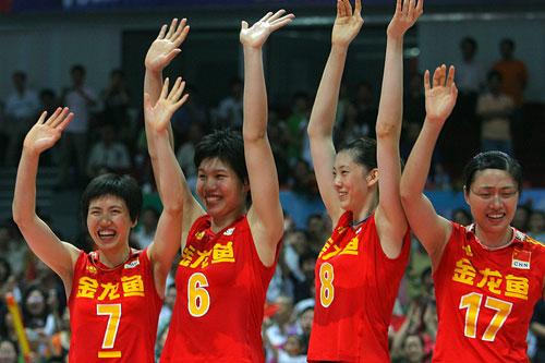 图文:中国女排3-2古巴夺冠 女排姑娘欢庆胜利