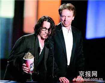 《加勒比海盗3》的演员强尼·德普(左)