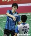 图文:苏杯中国二号男单鲍春来 印尼赛挺进决赛
