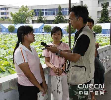 中广网记者采访灾区考生
