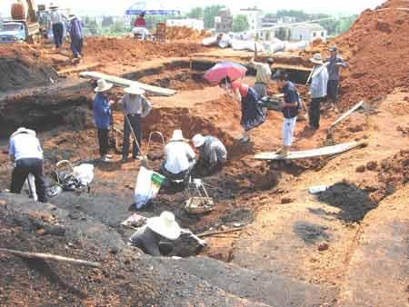 莲花县西汉古墓发掘现场