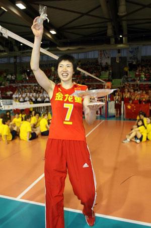 图文:中国女排三度折桂 夺冠后的兴奋溢于言表