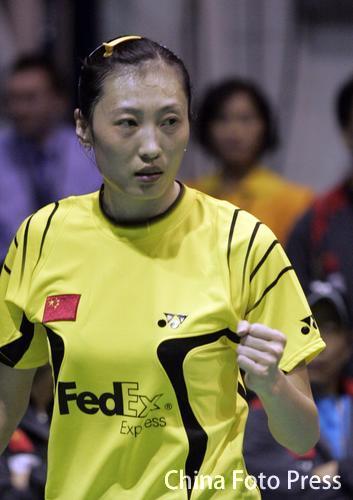 图文:苏迪曼杯次日中国女单取胜 张宁眼神坚定