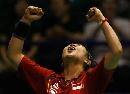 图文:女双印尼队力克英格兰队 印尼队员狂喜