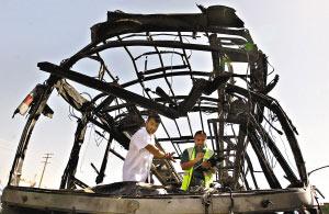 阿富汗首都喀布尔市中心17日发生汽车炸弹袭击事件,造成至少35人死亡。图为警方正在检查爆炸现场。