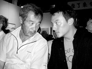 田壮壮和张震出席首映式一直面无表情 摄/刘婷婷