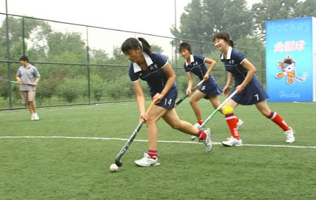 图文:全民健身体育节奥运项目体验 曲棍球展示