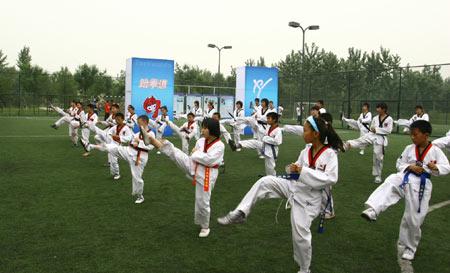 图文:全民健身体育节奥运项目体验 跆拳道展示