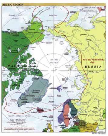 北冰洋东部海床拥有丰富的油气资源(红圈内为北冰洋领域)。