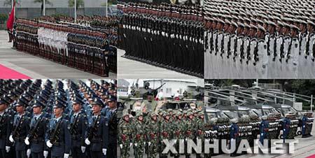 这是受检阅部队中的仪仗队(上左)、陆军方队(上中)、海军方队(上右)、空军方队(下左)、装甲兵方队(下中)和直升飞机方队(下右)。 新华社记者周磊摄