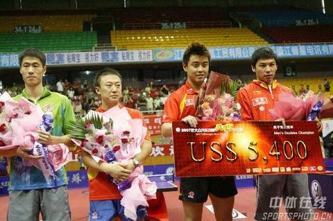 图文:中国公开赛颁奖  王励勤马琳只获亚军
