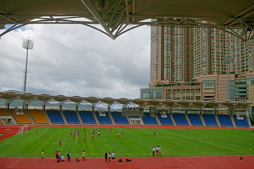 图文:国足备战亚洲杯最后热身赛 球场全貌一览