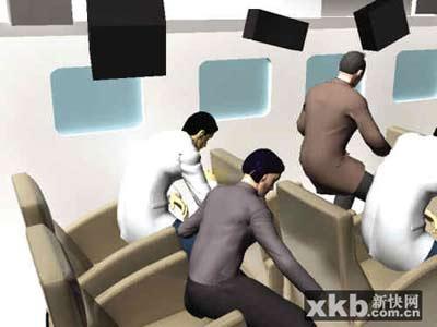 客机遭遇颠簸乘客飞起撞上机舱示意图