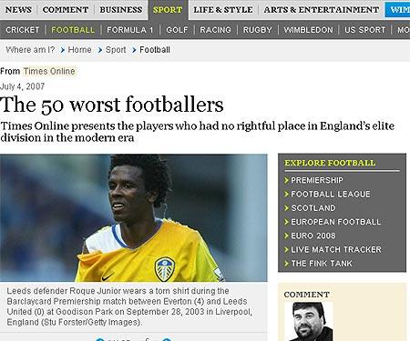 泰晤士报评选英超史上最垃圾转会TOP50