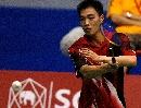 图文:陈宏获泰国公开赛男单冠军 陈宏在比赛中