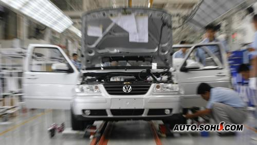 一汽大众成都制造厂的捷达生产线