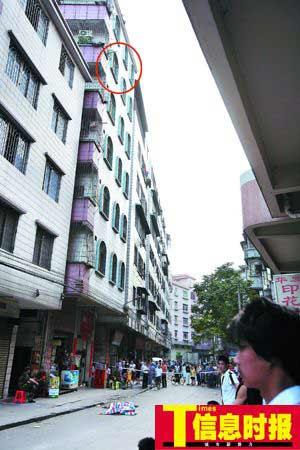 放假在家的大学生从自家房子的6楼一阳台上跳下,当场身亡。杜翠 摄