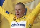 图文:环法第13赛段 爬坡专家拉斯姆森展示黄衫