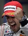图文:[F1]阿隆索获欧洲站冠军 阿隆索的怒吼