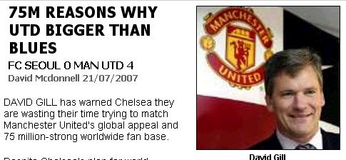 《星期日镜报》截屏:7500万个曼联比切尔西受欢迎的理由