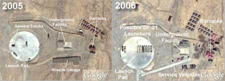 L2发射阵地不同时间卫星影像对比