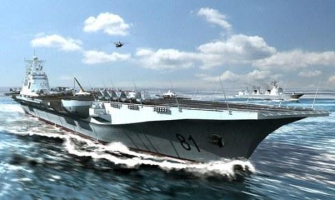 图片说明:中国航母编队海上航行想像图