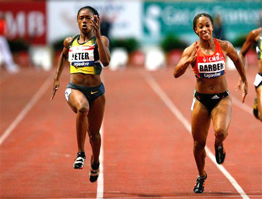 图文:摩纳哥田径赛 女子百米飞人战最后冲刺