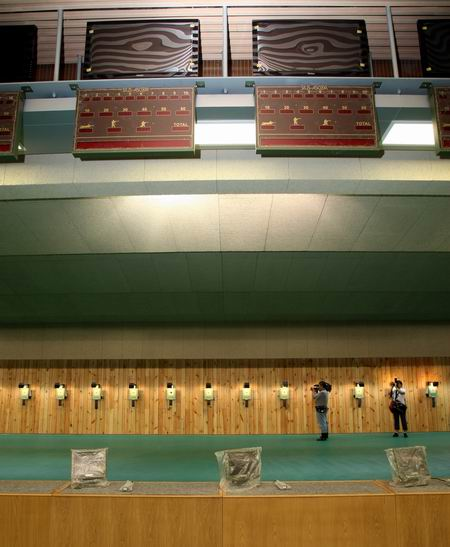 图文:北京射击馆正式交付 运动员上方成绩显示系统