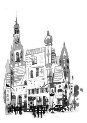 山中黑白图案简单手绘