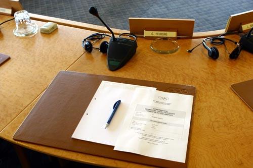 国际奥委会会议厅内海博格的座位