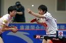 图文:乒超第十轮北京3比0重庆 双打比赛中