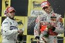 图文:[F1]匈牙利大奖赛正赛 喷洒香槟庆祝