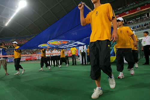 图文:[四国赛]国奥0-1朝鲜 两队出场