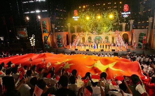 图文:上海庆祝奥运会倒计时一周年 精彩晚会